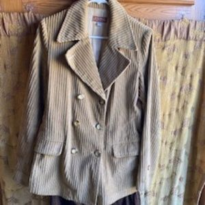 DOUBLE BREASTED CORDUROY BLAZER SIZE 10